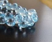 Sky Blue Topaz Gemstone Briolette Faceted Onion Drop 7.5mm 12 beads