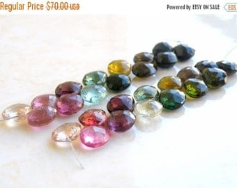 Clearance SALE Outstanding Tourmaline Gemstone Briolette Faceted Heart Multi Pink Green Yellow 8 to 9mm 14 beads
