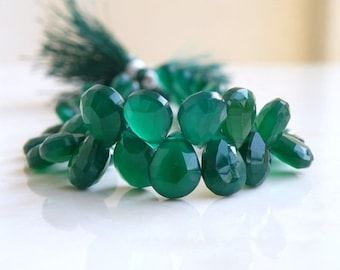 Green Onyx Gemstone Briolette Faceted Pear Teardrop 16.5 to 17mm 4 beads