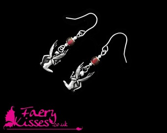 Fairy Earrings, Sterling Silver with Garnet - Original Kisses - Adena - Exclusively by Faery Kisses
