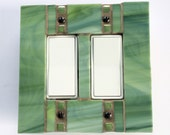 Double Decora Light Switch Cover, Green Stained Glass Switch Plate, Decorative Wall Plate, Mosaic Switchplate, GFI GFCI Outlet, Dimmer, 8245