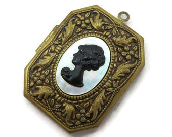 Large Brass Locket - Black and White Cameo, Mother of Pearl