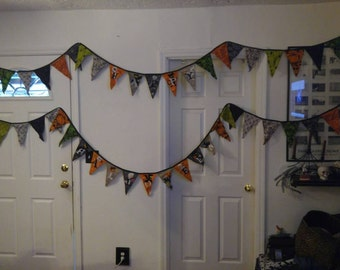 "8 yds 2 Rows Bunting Banners ""Happy Halloween"" Wall Decoration Double sided"