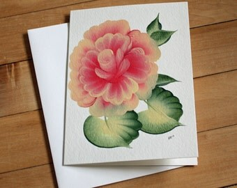 Handpainted Greeting Card with Rose, Blank Greeting Card, Note Card, Art Card, Any Occasion, Birthday Card, Painting, Flower, Handmade