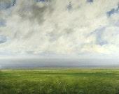Landscape Oil Painting CUSTOM 20x20 Modern Abstract Sky Cloud FIeld by J Shears