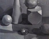 """Art painting still life """"Flame (Black and White)"""" orignial oil on canvas by Sarah Sedwick"""