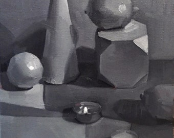 "Art painting still life ""Flame (Black and White)"" orignial oil on canvas by Sarah Sedwick"