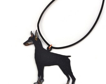 Adjustable Doberman Pinscher Hand cut and powder coated on leather cord