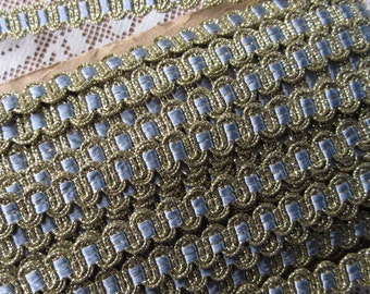 2 Yards Vintage Delicate Narrow Metallic Trim In Gold And Blue Old Store Stock  VT 02