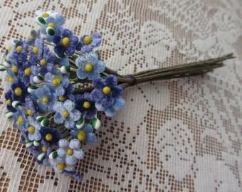 Czech Republic Velvet Forget Me Nots Millinery Fabric Flowers Blue Mix