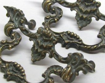 Pair Ornate Solid Brass Antique 19th C Victorian Art Nouveau Rococo Drawer Pulls Gorgeous Natural Verdigis Patina
