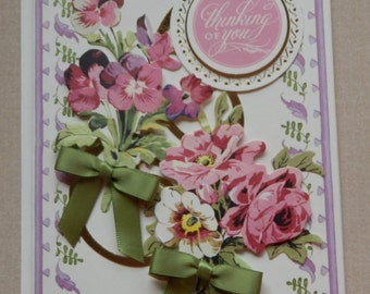 Handmade Thinking of You Card Made with Anna Griffin Design and Supplies Ribbon Bows Flowers
