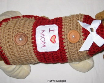 "XXS "" I Heart Mom"" Dog Sweater New"