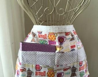 iPad Vendor Half Apron Teacher Art Craft Tea Coffee Latte Cafe Purple Fabric (6 Pockets)