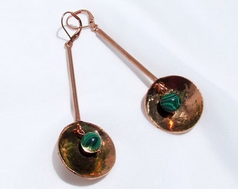 Copper Earrings, Malachite earrings, Modern earrings, MCM inspired, long drop, hammered disk, cold forged copper