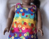 American Girl/18 inch doll Reversible Apron/Shirt in Rainbows and Ladybug Fabric and Red  FREE SHIPPING
