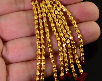 18k Solid Yellow Gold 2.5mmx3.3mm Fancy Spacer Findings Beads 2.1 inch strand