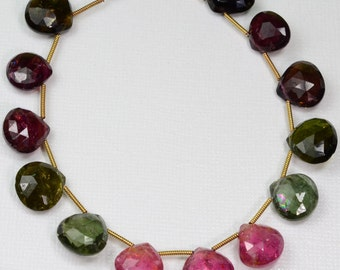 Rare Large Tourmaline Heart Briolette Bead 7.5 inch strand