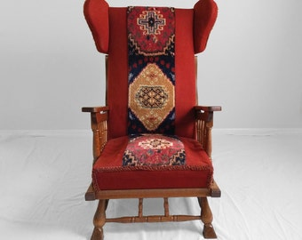vintage 1970s turkish style upholstered oak wing chair