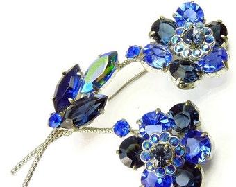Vintage Czech Blue Rhinestone Flower Brooch