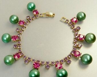 Vintage Fuchsia Amethyst Rhinestone Bracelet Green Pearl Charm Bracelet