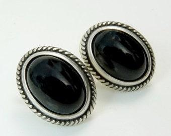 Vintage Sterling Silver Black Onyx Pierced Earrings Southwestern Design