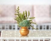 1:6 Scale Miniature Gold Urn Plant Fern Moss Arrangement Blythe Momoko Pullip Barbie Fashion Royalty Doll House