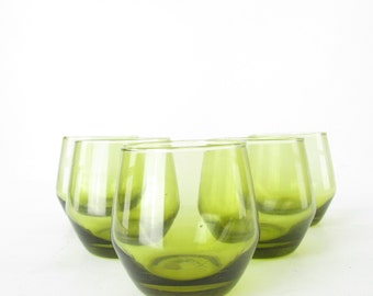 Vintage Set of 5 Yellow Green Italy Glasses // Barware Rocks Glasses