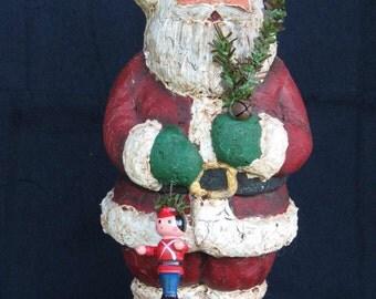 "Paper Mache 9"" Santa w/Greenery/Bell"
