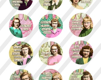 Digital Collage Sheet, Funny Nerdy Girls, Circles, 2 inch, 2.5 inch and 3 inch (Sheet no. FS254) Instant Download