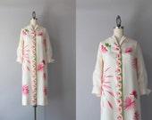 1960s Silk Dress / Vintage 50s 60s Pink Floral Shirt Dress / 60s Serbin Silk Dress
