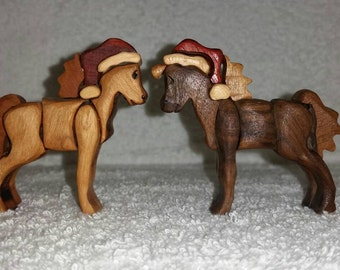 Wooden Christmas Pony Horse Figure
