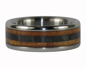 Black Carbon Fiber and Koa Titanium Ring