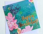 Happy Birthday Card Ink Foil Illustration