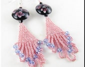 CLEARANCE SALE! Seed Bead Pink Blue and Black Beadwork Earrings with Flower Murano Lampwork Beads