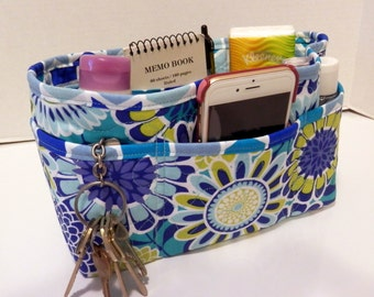 "Purse Organizer Insert/Enclosed Bottom  4"" Depth/ Shades of Blue Bold Floral Print"