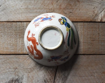 Antique Bowl, Porcelain Bowl, Asian Bowl, Baskets and Bowls, Vintage Bowl, Chinese Bowl, Rice Bowl, Dragon and Phoenix, Home & Living