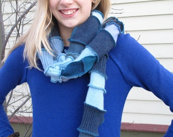 Patchwork Scarf - Upcycled and Eco Friendly - Blue & Teal