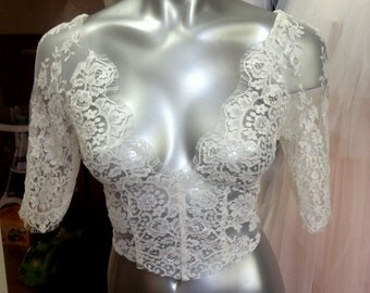 New 2016 by Angelika Chantilly Lace bridal lace top ivory lace top ivory lace blouse bridal bolero jacket