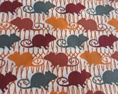 SPRINGY MICE RATS Hand printed fabric Perfect for Halloween Limited Edition