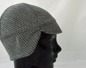 Tiny Squares Winter Bike Hat (S) of Recycled Cotton Knit