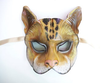 Cat Leather Mask tabby cat house cat palomino base color