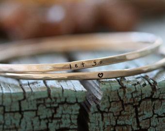 Personalized golden bronze bangle bracelet