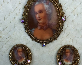 Vintage Painted Cameo Brooch & Earrings