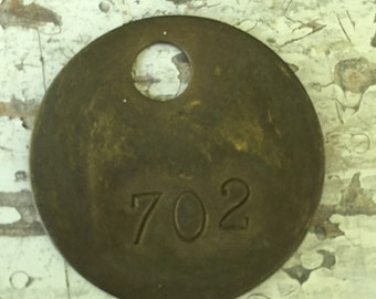 Vintage brass cow tag #702