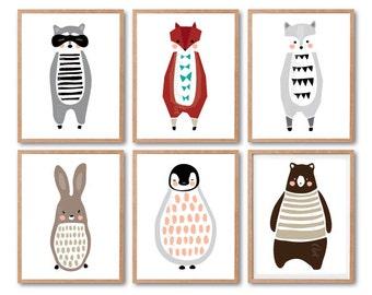 Bear, penguin, fox, wolf, raccoon, rabbit print, Any 6 Prints, Racoon Print, Print set, Animala Illustration, Woodland animals Baby nursery
