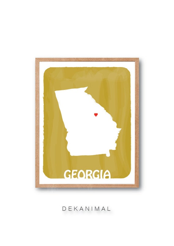GEORGIA Map - MUSTARD - Personalized Custom Color Watercolor Style State Map Wedding Birthday Anniversary GIft Children Kids Wall Art