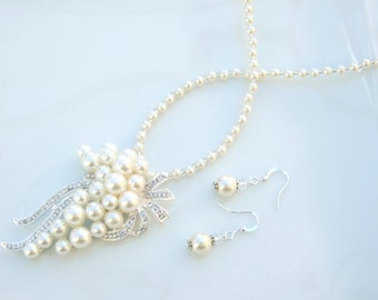 SET - Silver & Ivory White Pearl Cluster Pendant Necklace and Earrings Wedding
