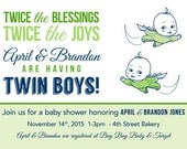 Twin Superheroes Baby Shower invitation