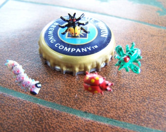 Vintage Insect Novelty Pins , Entomologist Tie Tacks Enamel Bugs , Made in Japan , kitsch scatter brooches  from the 1950s